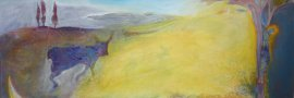 Landscape with calf  and cross 2003, mixed media on paper